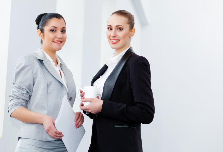business women smiling
